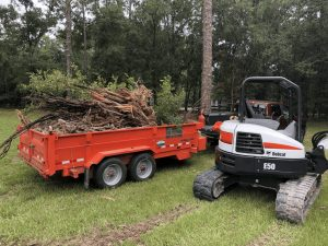 6.5 ton loader being used to clear roots